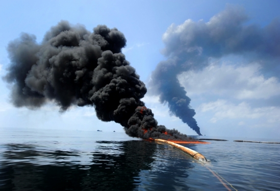 Controlled fire in Gulf of Mexico