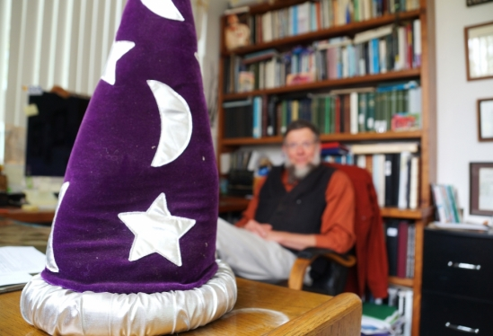 Wizard hat in Bruce Tiffney's office