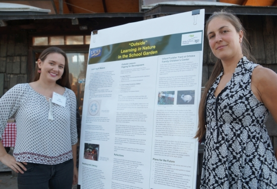 UCSB students with garden education poster