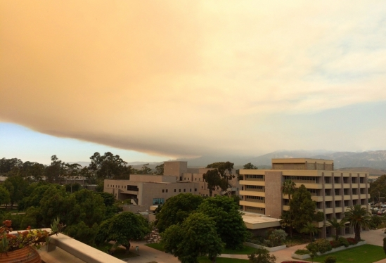 Smoke from the Whittier fire