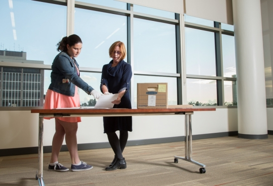 UCSB Library's Danelle Moon and Carla Altomare in Special Research Collections