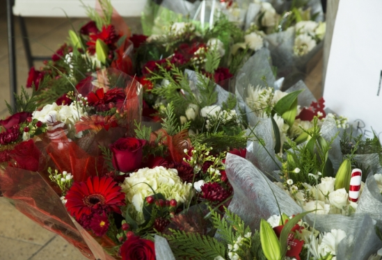 Closeup of holiday bouquets delivered to UCSB's MAC