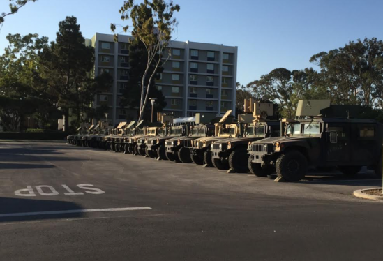 Humvees staged at in Lot 23