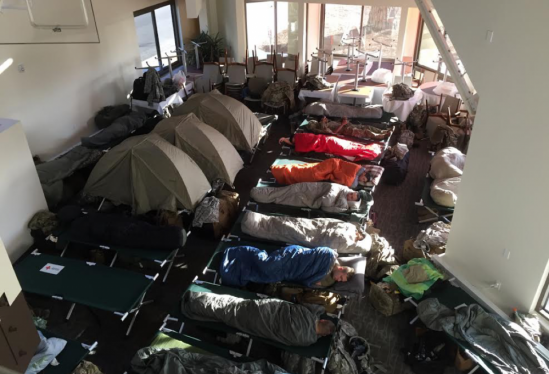 National Guard troops get some sleep at The UCSB Club and Guesthouse