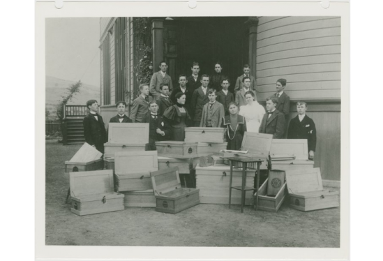 Carpentry students at Blake School, circa 1891-1917