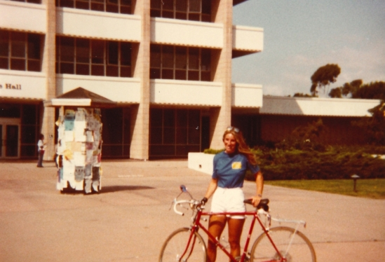 Cathy Farley as a UCSB Bike Education Safety Officer in 1983