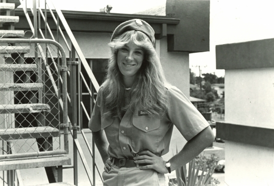 Cathy Farley working security at UCSB's Olympic Village in 1984