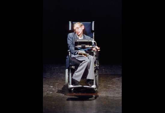 Stephen Hawking at Campbell Hall in 1990s