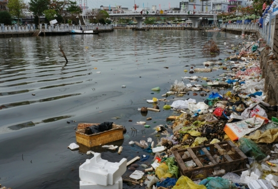 Plastic waste accumulated in the Mekong River