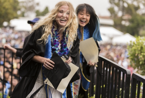 Happy friends and graduates at 2019 Commencement