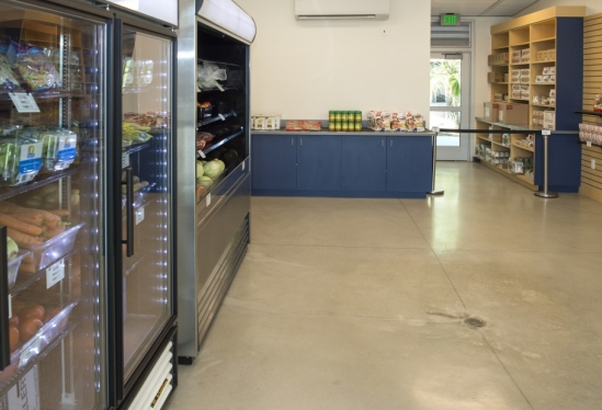 Refrigeration and shelving at Miramar Food Pantry