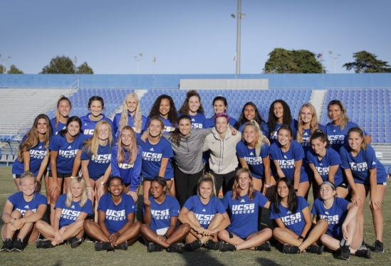 Alex Morgan and Megan Rapinoe with UCSB Women's Soccer Team in 2019