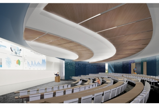 Rendering of a lecture hall inside the new classroom building at UCSB