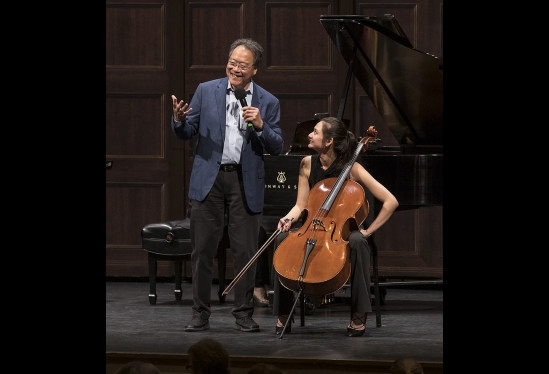 Musician Yo-Yo Ma leading a cello masterclass for UCSB students