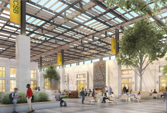 Artist's rendering of a landscaped courtyard inside Munger Hall at UCSB