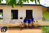 Boys outside school in rural Mwanza, Tanzania