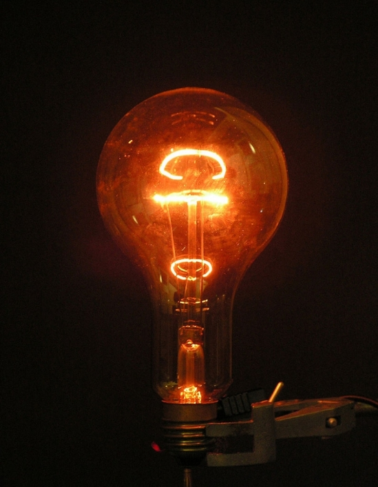 photo of lit lightbulb