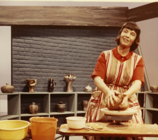 "Susan Peterson, c. 1964, promoting her television show, ""Wheels, Kilns, and Clay"""