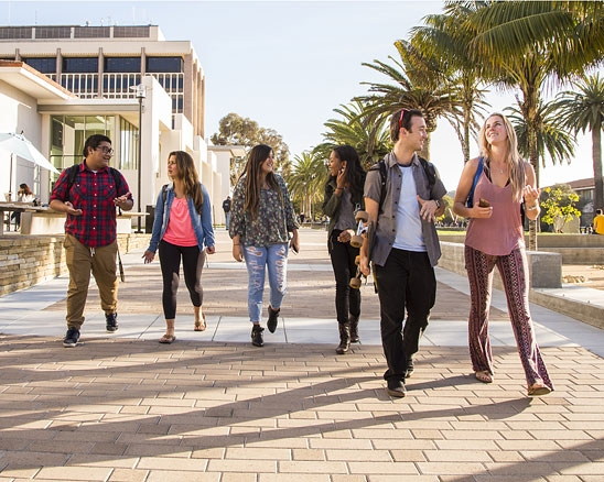 UCSB students walking past library