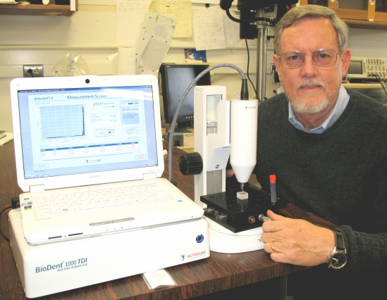 Paul Hansma with the Reference Point Indentation instrument.