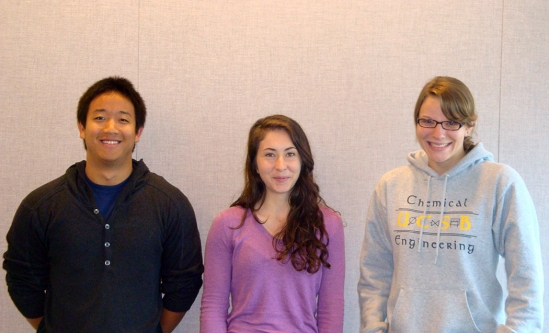 From left to right, the 2012 Beckman Scholars: Kendrick Yim, Maia Kinnebrew, and Carolyn Mills
