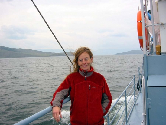 Stephanie Hampton on research vessel on Lake Baikal.