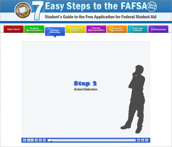 A screenshot of the FAFSA online tutorial. Courtesy of UCSB Office of Financial Aid.