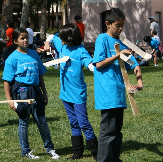 Junior high school students from Oxnard prepare to launch their gliders at the 2011 Science & Technology MESA Day