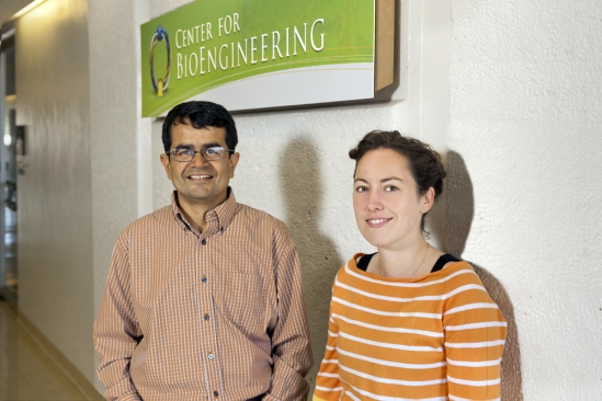 Samir Mitragotri, director of the Center for BioEngineering, and lecturer Adele Doyle