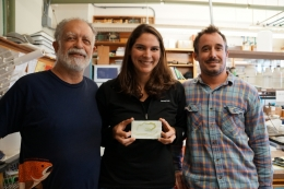 Parasitologists holding a slide of a larval tapeworm