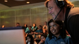 UCSB's Scott Simon with student from Adelante Charter School