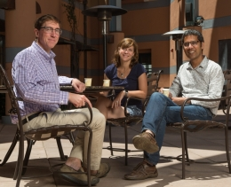 KITP Deputy Director Greg Huber, neuroscientist Anne-Marie Oswald and biologist Venkatesh Murthy. Photo Credit:  Matt Perko