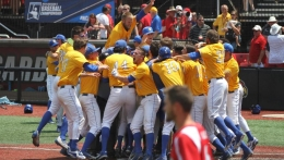 Gaucho baseball team celebrating