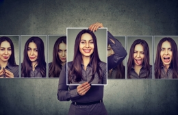 Woman expressing different emotions