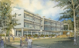 Artist's conception of the BioEngineering Building