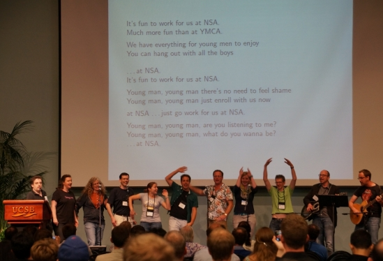 photo of participants at CRYPTO 2014 Rump Session