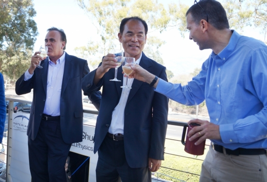 a toast to the newest Nobel Prize winner at UCSB