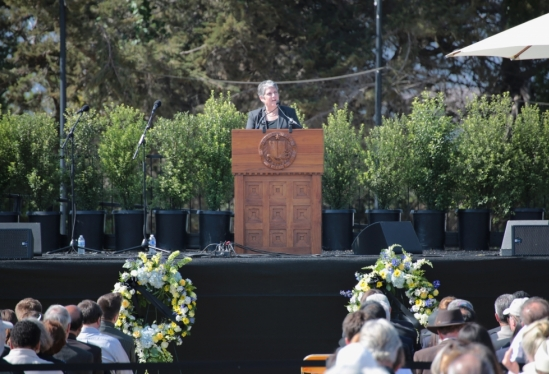 photo of Janet Napolitano at memorial