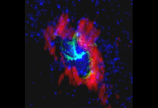 This composite of Sagittarius A-Star combines radio images from the NRAO Very Large Array (green), BIMA (red) and the NASA Spitzer Space Telescope (blue).  Photo Credit: Image courtesy of NRAO/AUI - See more at: http://www.news.ucsb.edu/2014/014446/inside-milky-way#sthash.A6sEIqtf.dpuf