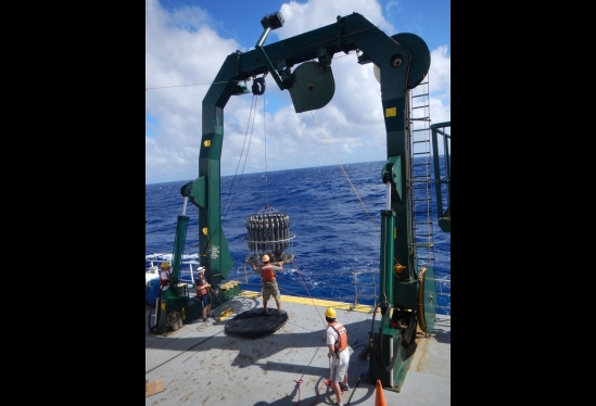 UCSB students deploying CTD at sea