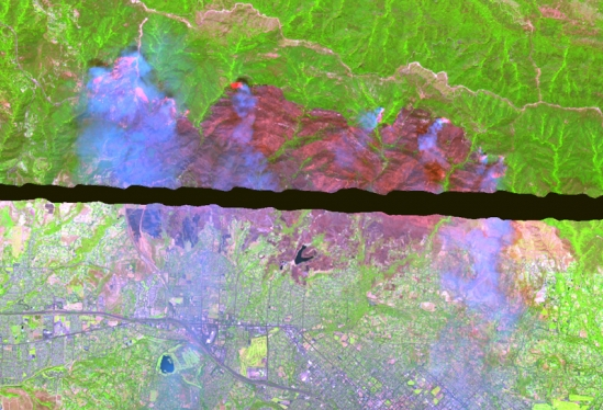 Full spectrum AVIRIS remote sensing image of Jesusita Fire