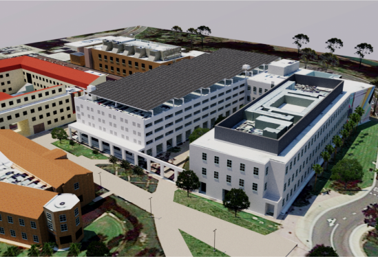Rendering of Elings Hall solar array