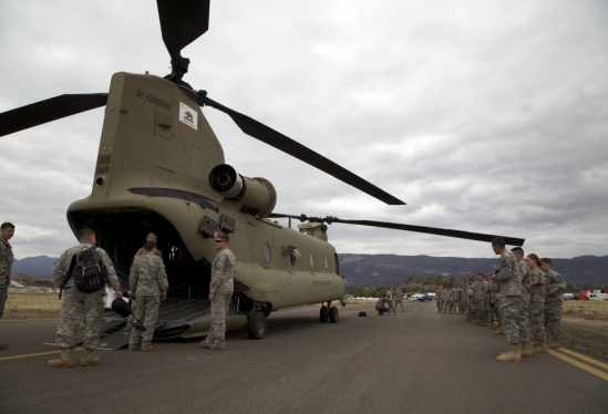 ROTC cadets and helicopter