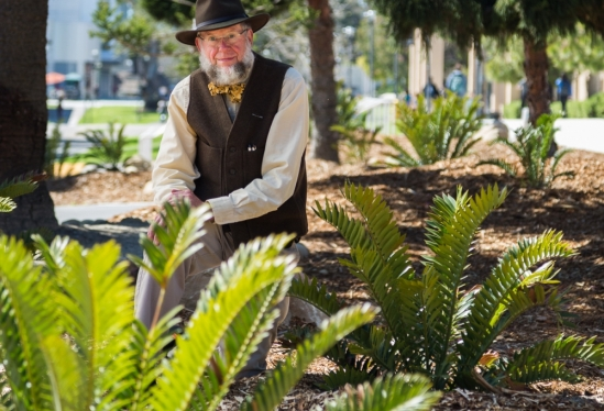 Bruce Tiffney in Pardall cycad garden