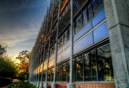 UCSB Life Sciences building at sunset