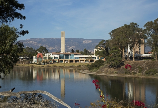 UCSB Storke Tower reflected in the campus lagoon Dec. 18, 2017