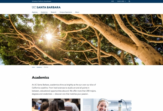 New Academics page at UCSB.edu