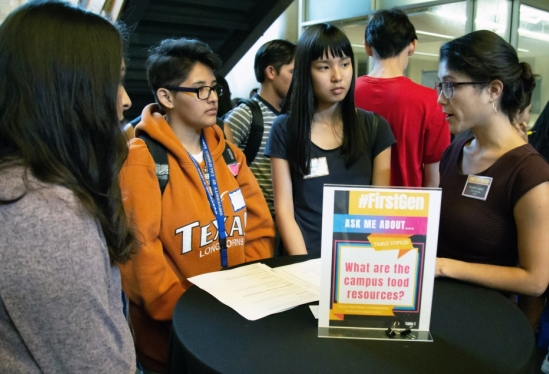 CARE advocate Kayla Lopez speaks with students at #FirstGen Scholars Welcome