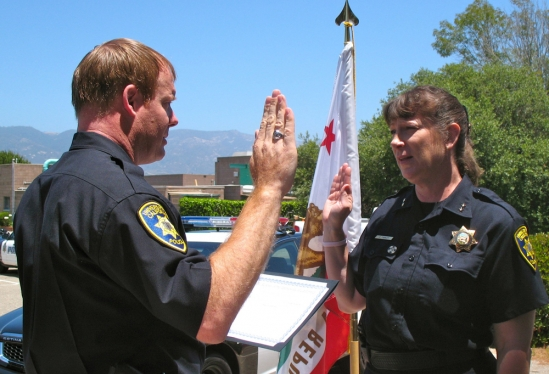 UCSB Police Chief Dustin Olson and Assistant Chief Cathy Farley in 2012