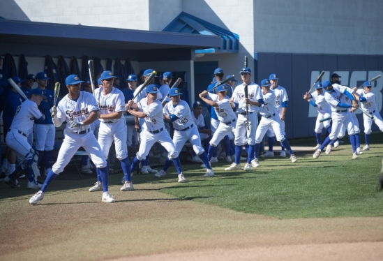Gaucho baseball team warming up for a recent game